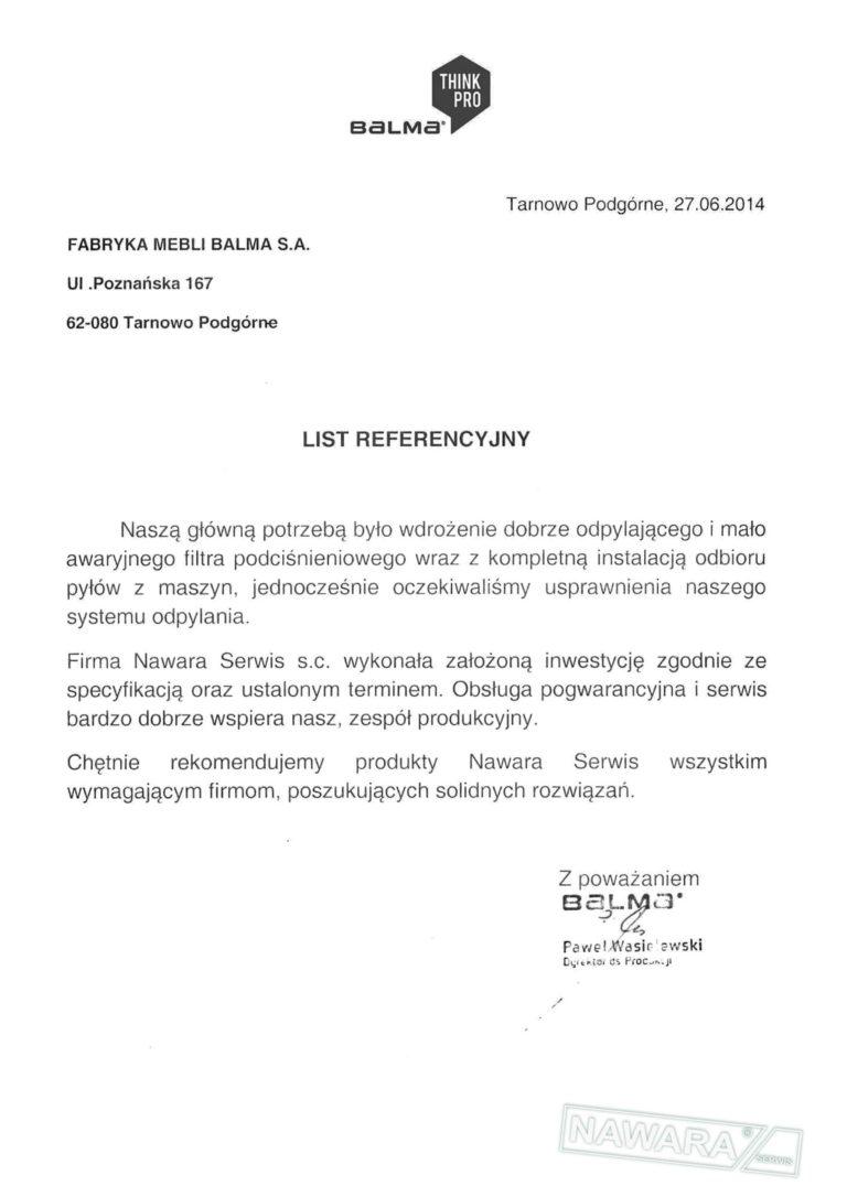 List referencyjny BALMA