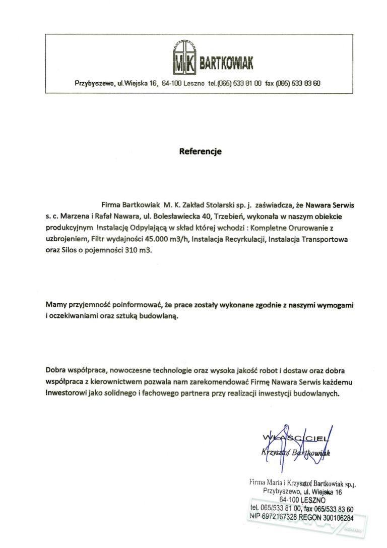 List referencyjny BARTKOWIAK