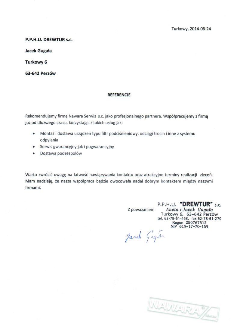 List referencyjny DREWTUR