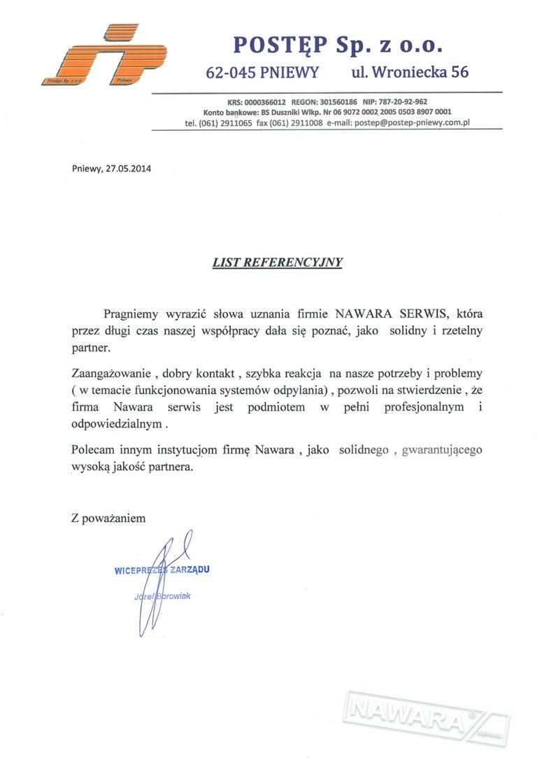 List referencyjny POSTĘP